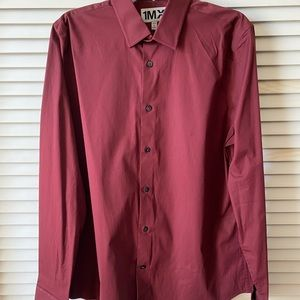 Express 1MX Slim/Fitted Solid Dress Shirt Burgundy